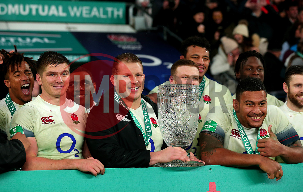 Dylan Hartley of England with the Cook Cup after his side beat Australia - Mandatory by-line: Robbie Stephenson/JMP - 18/11/2017 - RUGBY - Twickenham Stadium - London, England - England v Australia - Old Mutual Wealth Series