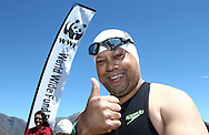 Jeremy Harris from KFM before the start of the 200m Celebrity Splash held as part of the Bridge House Mile Swim at the Berg River Dam in Franschhoek on the 2nd November 2013<br /> <br /> Photo by Shaun Roy - WWF - Sportzpics