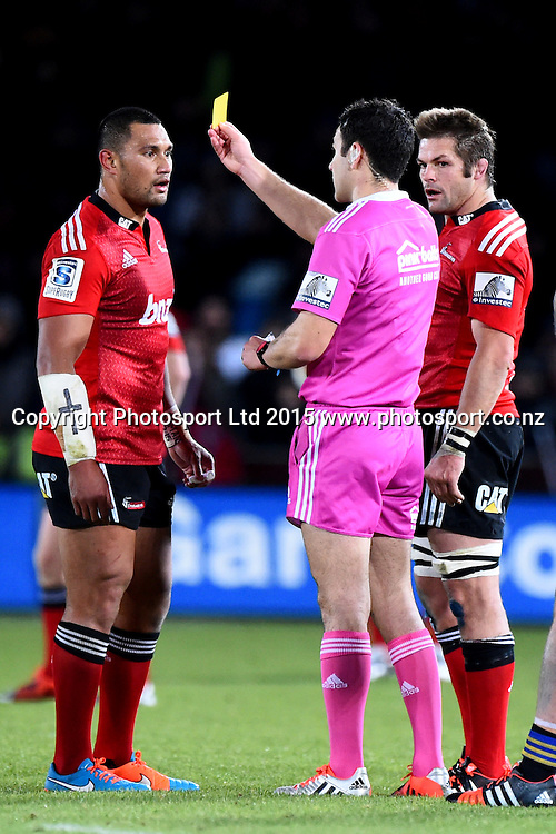 Crusaders player Robbie Fruean is given a yellow card by match referee Ben O`Keeffe during their Investec Super Rugby game Crusaders v Hurricanes. Trafalgar Park, Nelson, New Zealand. Friday 29 May 2015. Copyright Photo: Chris Symes / www.photosport.co.nz