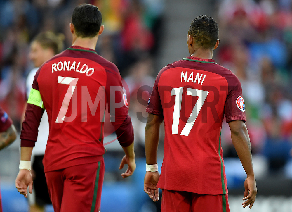 Cristiano Ronaldo of Portugal and Nani of Portugal  - Mandatory by-line: Joe Meredith/JMP - 18/06/2016 - FOOTBALL - Parc des Princes - Paris, France - Portugal v Austria - UEFA European Championship Group F