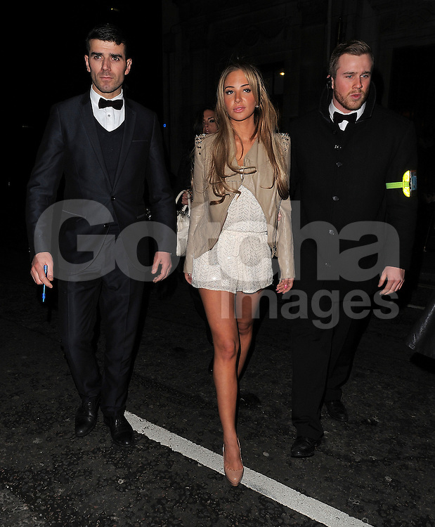 Tulisa Contostavlos attends her PA Gareth Varey's birthday party at Steam &amp; Rye bar restaurant in London, UK. 21/12/2013<br />