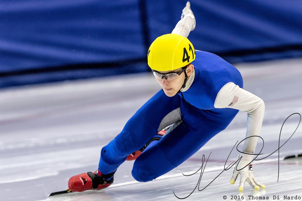 December 17, 2016 - Kearns, UT - Luca Lim skates during US Speedskating Short Track Junior Nationals and Winter Challenge Short Track Speed Skating competition at the Utah Olympic Oval.