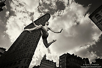Flatiron Building Dance As Art Black and White New York City Photography Series with dancer Andy Jacob
