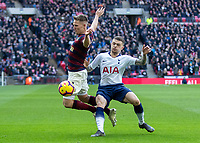 Football - 2018 / 2019 Premier League - Tottenham Hotspur vs. Newcastle United<br /> <br /> Matt Ritchie (Newcastle United) goes over theatrically sfter being touched by Kieran Trippier (Tottenham FC) at Wembley Stadium.<br /> <br /> COLORSPORT/DANIEL BEARHAM