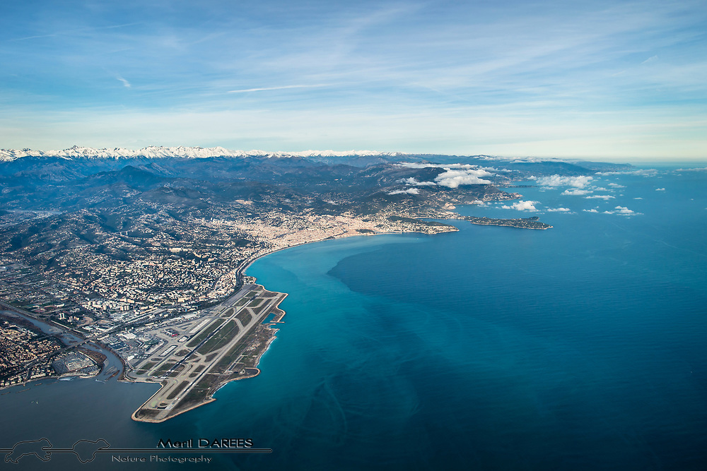 The airport and city of Nice from a plane