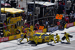 March 4, 2018 - Las Vegas, NV, U.S. - LAS VEGAS, NV - MARCH 04: Joey Logano (22) Team Penske Pennzoil Ford Fusion makes a pit stop during the Monster Energy NASCAR Cup Series Pennzoil 400 on March 04, 2018 at Las Vegas Motor Speedway in Las Vegas, NV. (Photo by Chris Williams/Icon Sportswire) (Credit Image: © Chris Williams/Icon SMI via ZUMA Press)