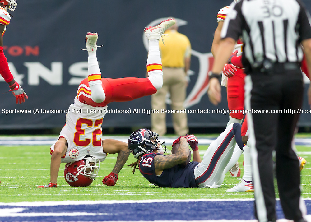 18 September, 2016:  Kansas City Chiefs cornerback Phillip Gaines (23) flips trying to tackle Houston Texans wide receiver Will Fuller (15) during the NFL game between the Kansas City Chiefs and Houston Texans at NRG Stadium in Houston, Texas.  (Photograph by Leslie Plaza Johnson/Icon Sportswire)