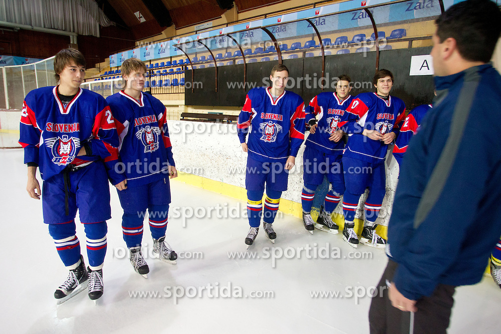 Gregor Koblar, Matic Zajsek, Anze Dovic, Gal Koren, Peter Bizalj and coach Gorazd Drinovec during Practice session of Slovenian U20 ice-hockey team, on December 08, 2011 in Ledena dvorana, Bled, Slovenia. (Photo By Vid Ponikvar / Sportida.com)