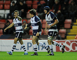 Bristol Rugby's replacement prop, Gaston Cortes celebrates with his team mates after scoring. - Photo mandatory by-line: Dougie Allward/JMP - Mobile: 07966 386802 - 05/12/2014 - SPORT - Rugby - Bristol - Ashton Gate - Bristol Rugby v London Scottish - B&I Cup