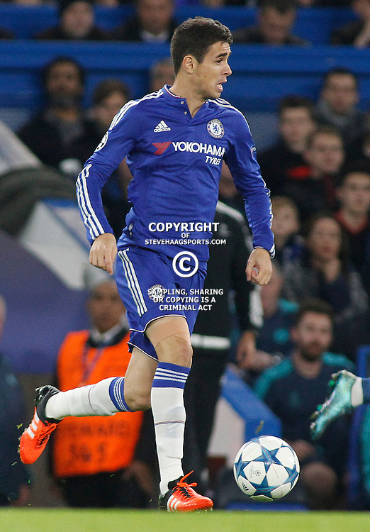 LONDON, ENGLAND - NOVEMBER 04 2015: Oscar of Chelsea during the UEFA Champions League match between Chelsea and Dynamo Kyiv at Stamford Bridge on November 04, 2015 in London, United Kingdom.