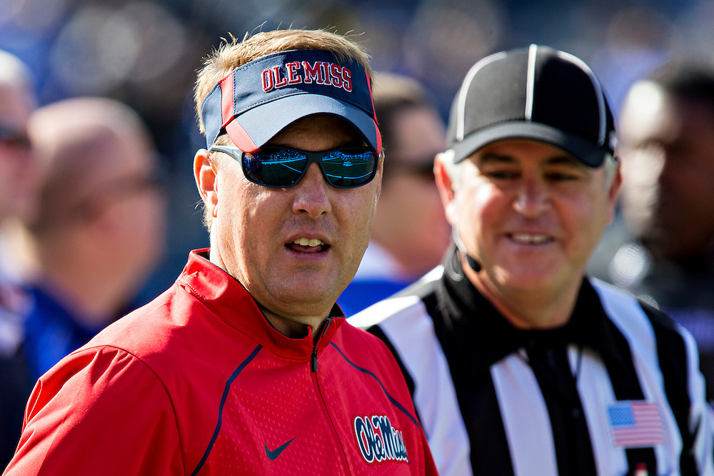 MEMPHIS, TN - OCTOBER 17:  Head Coach Hugh Freeze of the Ole Miss Rebels talks with a Official before a game against the Memphis Tigers at Liberty Bowl Memorial Stadium on October 17, 2015 in Memphis, Tennessee.  The Tigers defeated the Rebels 37-24.  (Photo by Wesley Hitt/Getty Images) *** Local Caption *** Hugh Freeze