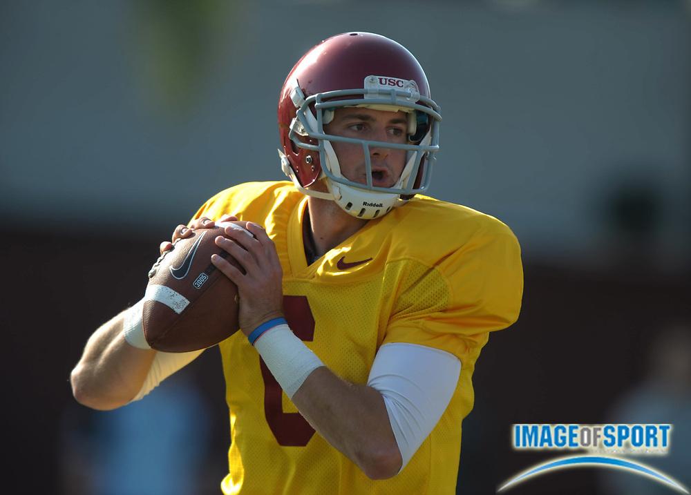 Apr 5, 2012; Los Angeles, CA, USA; Southern California Trojans quarterback Cody Kessler (6) throws a pass at spring practice at Howard Jones Field.