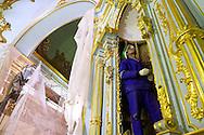 Altares: reforço estrutural do altar de São Luís rei da França, durante as obras de Restauro da Igreja da Ordem Terceira de São Francisco, realizadas no mês de novembro de 2013. São Paulo, 13 de novembro de 2013. Foto Daniel Guimarães