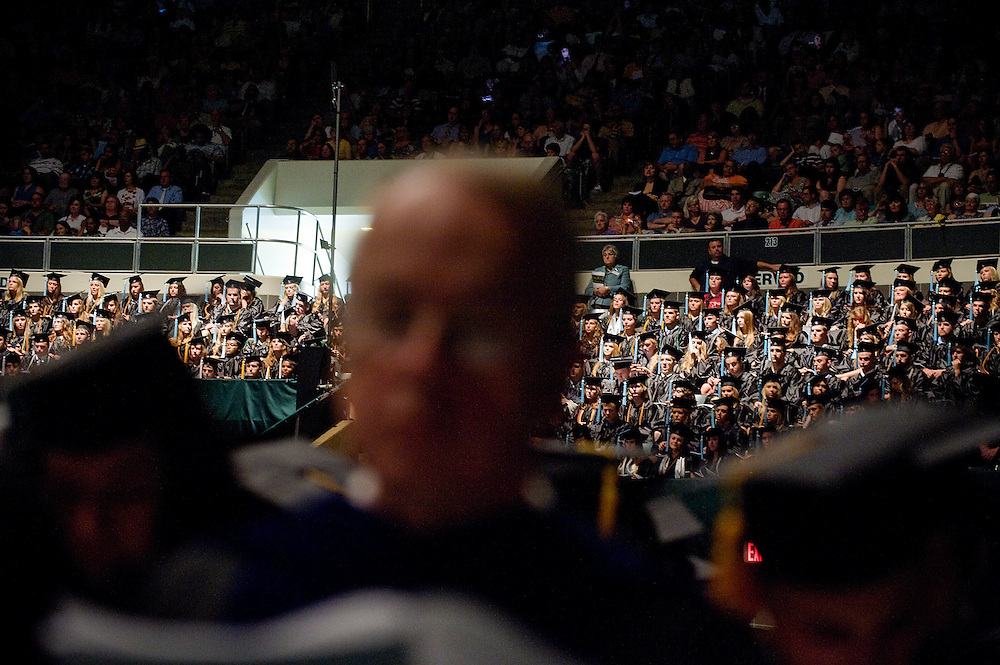 Ohio University graduates wait for commencement to begin on Saturday, June 12, 2010  at Ohio University's Convocation Center.
