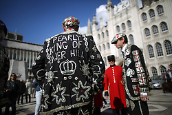 © Licensed to London News Pictures. 27/09/2015. London, UK. The Pearly King of Tower Hill (L) talks to a Chelsea Pensioner in Guildhall Square during a Harvest Festival celebration. Photo credit: Peter Macdiarmid/LNP