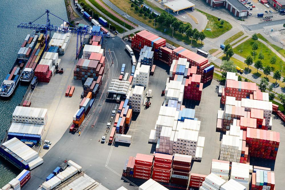 Nederland, Zuid-Holland, Rotterdam, 10-06-2015;  Waalhaven (WestZijde). United Waalhaven Terminals (UWT) container terminal in de voorgrond.<br /> Waal harbour (West side).<br /> luchtfoto (toeslag op standard tarieven);<br /> aerial photo (additional fee required);<br /> copyright foto/photo Siebe Swart