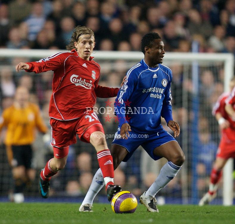 LONDON, ENGLAND - Sunday, February 10, 2008: Liverpool's Lucas Levia and Chelsea's John Mikel Obi during the Premiership match at Stamford Bridge. (Photo by David Rawcliffe/Propaganda)