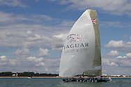 "ENGLAND, Cowes, 2nd August 2010. 1851 Cup Regatta. TEAMORIGIN flying the ""Jaguar Academy of Sport"" Spinnaker."