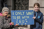 Young supporters - Unite for Europe march attended by thousands on the weekend before Theresa May triggers article 50. The march went from Park Lane via Whitehall and concluded with speeches in Parliament Square.