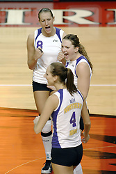 24 November 2006: Panthers Laura Rowan, Courtney Varley, and Ashten Stelken celebrate a point during a Semi-final match between the Creighton University Bluejays and the Northern Iowa University Panthers. The Tournament was held at Redbird Arena on the campus of Illinois State University in Normal Illinois.<br />