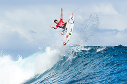 Aug 12, 2017 - Teahupo'o, French Polynesia, Tahiti - Gabriel Medina of Brazil, current No.9 on the Jeep Leaderboard advanced directly to Round Four of the Billabong Pro Tahiti after defeating Bede Durbidge of Australia in Heat 4 of Round Three. (Credit Image: © Kelly Cestari/World Surf League via ZUMA Wire)