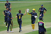 Liam Dawson and Hampshire celebrate the wicket of Nathan Sowter during the Royal London One Day Cup match between Hampshire County Cricket Club and Middlesex County Cricket Club at the Ageas Bowl, Southampton, United Kingdom on 23 April 2019.