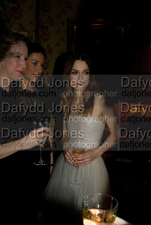 KEIRA KNIGHTLEY, Pre Bafta dinner hosted by Charles Finch and Chanel. Mark's Club. Charles St. London. 9 February 2008.  *** Local Caption *** -DO NOT ARCHIVE-© Copyright Photograph by Dafydd Jones. 248 Clapham Rd. London SW9 0PZ. Tel 0207 820 0771. www.dafjones.com.