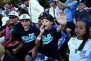 BYoung fans cheer on the Brewster Whitecaps during game three of the Cape Cod League Championship Series against the Bourne Braves at Stony Brook Field on August 13, 2017 in Brewster, Massachusetts.