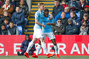 GOAL 0-2 Manchester City midfielder Raheem Sterling (7) scores and celebrates during the Premier League match between Crystal Palace and Manchester City at Selhurst Park, London, England on 14 April 2019.