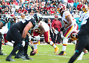 Dec 16, 2018; Jacksonville, FL, USA; Washington Redskins head coach Jay Gruden studies the line of scrimmage during an NFL game at TIAA Bank Field against the Jacksonville Jaguars. The Redskins beat the Jaguars 16-13. (Steve Jacobson/Image of Sport)