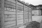 Skins graffiti on garages, Hawthorne Rd,High Wycombe. UK, 1980s.