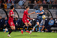 SYDNEY, AUSTRALIA - APRIL 10: Shanghai SIPG FC player Zhang Yi (18) holds Sydney FC player Brandon O'neill (13) off the ball at The AFC Champions League football game between Sydney FC and Shanghai SIPG FC on April 10, 2019, at Netstrata Jubilee Stadium in Sydney, Australia. (Photo by Speed Media/Icon Sportswire)