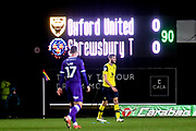 The scoreboard show the full time score during the EFL Sky Bet League 1 match between Oxford United and Shrewsbury Town at the Kassam Stadium, Oxford, England on 7 December 2019.