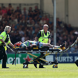 Scott Wilson of Newcastle Falcons is taken off on a stretcher after getting injured
