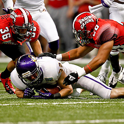 December 22, 2012; New Orleans, LA, USA; East Carolina Pirates defensive back Justin Venable (32) dives to recover a fumble before Louisiana-Lafayette Ragin Cajuns running back Mitchell Cunningham (36) and Louisiana-Lafayette Ragin Cajuns linebacker Will Burrowes (20) can get to the  ball during the second quarter of the New Orleans Bowl at the Mercedes-Benz Superdome. Mandatory Credit: Derick E. Hingle-USA TODAY Sports
