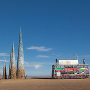 Subterrafuge spires and LedHedz bus at AfrikaBurn 2014, Tankwa Karoo desert, South Africa