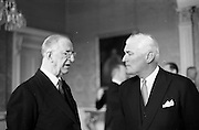 28/04/1965<br /> 04/28/1965<br /> 28 April 1965<br /> New American Ambassador presents Credentials. Picture shows His Excellency Raymond Richard Guest , (right) American Ambassador, chatting with President Eamon de Valera after the presentation at Aras an Uachtarain.