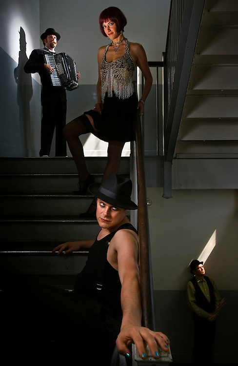 Alacartoona, a modern cabaret band featuring Kyle Dahlquist, upper left, Erin McGrane, upper center, Christian Hankle, lower center and Gregg Jackson, lower right, are working on a film featuring their music at the end of May from a local arts grant.