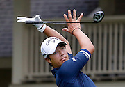 Ryo Ishikawa, of Japan, reacts after teeing off on the eighth hole during the third round of the RBC Heritage golf tournament in Hilton Head Island, S.C., Saturday, April 18, 2015. (AP Photo/Stephen B. Morton)
