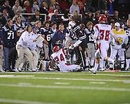 Ole Miss wide receiver Markeith Summers (16) is tackled by Louisiana-Lafayette's Lionel Stokes (24) in Oxford, Miss. on Saturday, November 6, 2010. Ole Miss won 43-21.