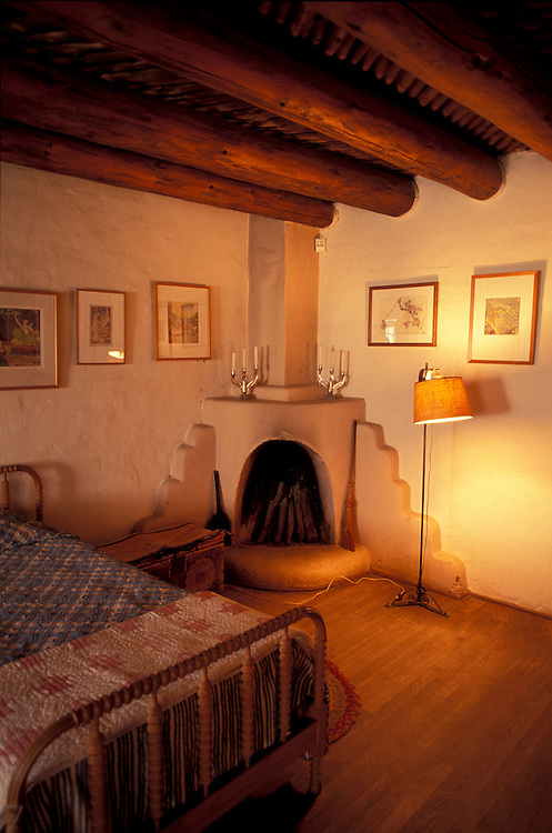 Bedroom, Blumenschein Family Home & Museum, Taos, New Mexico, USA