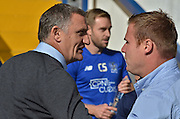 Coventry City manager, Tony Mowbray and Bury Manager David Flitcroft shake hands  during the Sky Bet League 1 match between Bury and Coventry City at Gigg Lane, Bury, England on 26 September 2015. Photo by Mark Pollitt.