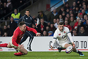 Twickenham, Surrey. UK. Jonny MAY, beat's, wales wing, Josh ADAMS to the ball and gather's the ball, to score the first try during the Six Nations Rugby Match, England vs Wales RFU Stadium, Twickenham. Surrey, England. on Saturday 10.02.18<br />