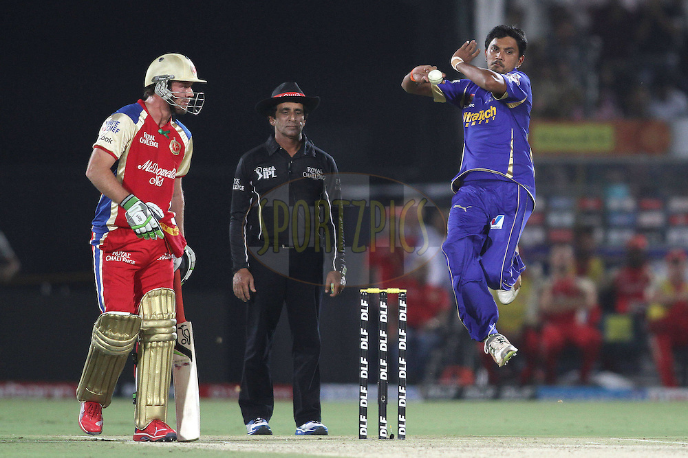 Siddharth Trivedi of the Rajasthan Royals sends down a delivery during match 30 of the the Indian Premier League (IPL) 2012  between The Rajasthan Royals and the Royal Challengers Bangalore held at the Sawai Mansingh Stadium in Jaipur on the 23rd April 2012..Photo by Shaun Roy/IPL/SPORTZPICS