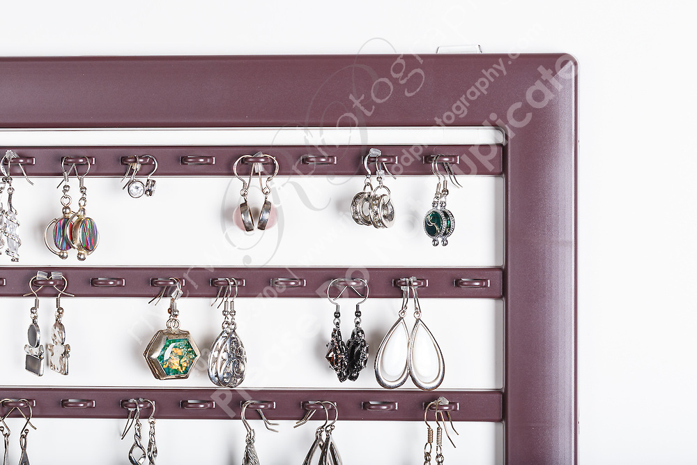 Commercial Product photography of a wall mounted jewelry storage rack for an Airdire based manufacturer of jewelry cases and accessories.<br /> <br /> ©2016, Sean Phillips<br /> http://www.RiverwoodPhotography.com