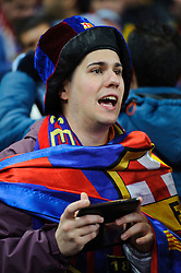 Barcelona fans wave scarves and chant - Photo mandatory by-line: Rogan Thomson/JMP - Tel: 07966 386802 - 18/02/2014 - SPORT - FOOTBALL - Etihad Stadium, Manchester - Manchester City v Barcelona - UEFA Champions League, Round of 16, First leg.
