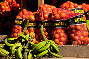 Bananas and oranges at an outdoor market in Puerto Rico.