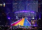 03.08.2014. Glasgow, Scotland. Glasgow Commonwealth Games. Closing Ceremony from Hampden Park. Kylie Minogue performs onstage through a sea of confetti