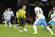 Arlene Guedioura runs at the Newcastle defence during the The FA Cup Third Round match between Watford and Newcastle United at Vicarage Road, Watford, England on 9 January 2016. Photo by Dave Peters.