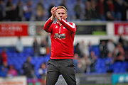 Bolton Wanderers manager Phil Parkinson claps the fans after the EFL Sky Bet Championship match between Ipswich Town and Bolton Wanderers at Portman Road, Ipswich, England on 22 September 2018.